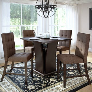 CorLiving Bistro 5pc Counter Height Dining Set, Cappuccino and Chestnut Bark