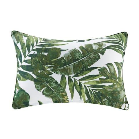 "Madison Park Navio Green Printed Palm 3M Scotchgard Indoor/ Outdoor Oblong Pillow - 14x20"""