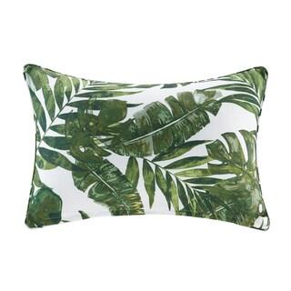 Madison Park Navio Green Printed Palm 3M Scotchgard Indoor/Outdoor Oblong Pillow