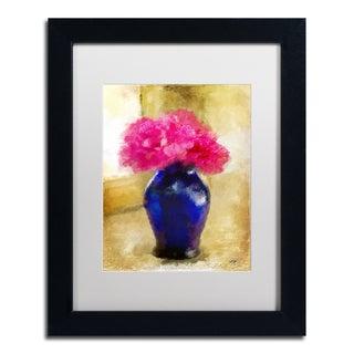 Lois Bryan 'Pink Carnations in Cobalt Blue Vase' Matted Framed Art
