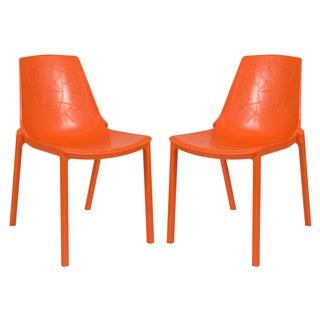 LeisureMod Modern Clover Orange Dining Chair (Set of 2)