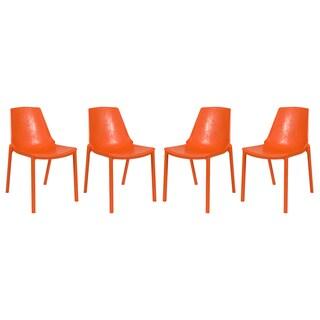 LeisureMod Modern Clover Orange Dining Chair (Set of 4)