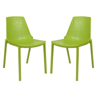 LeisureMod Modern Clover Dragonfly Green Dining Chair (Set of 2)