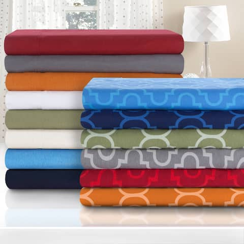 Superior Extra Soft All Season Brushed Cotton Flannel Trellis Bed Sheet Set