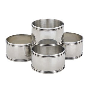 Reed & Barton Kent Pewter and Silver Metal Napkin Rings (Pack of 4)