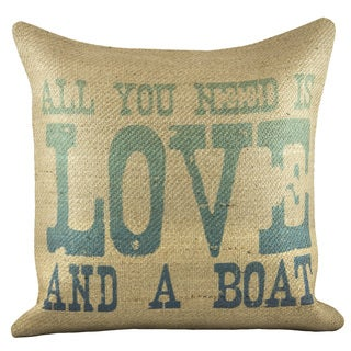 'Love And A Boat' Burlap Pillow