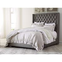 Signature Design by Ashley Coralayne Tufted Grey Faux Leather Upholstered Bed