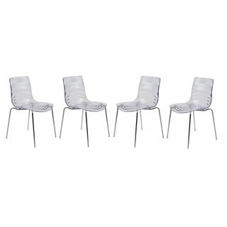 LeisureMod Modern Astor Polycarbonate Clear Dining Chair (Set of 4)
