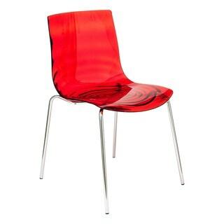LeisureMod Modern Astor Polycarbonate Transparent Red Dining Chair
