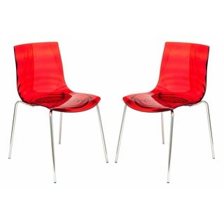 LeisureMod Astor Red Plastic Chrome Base Dining Side Chair Set of 2
