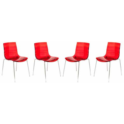 LeisureMod Astor Red Plastic Chrome Base Dining Side Chair Set of 4
