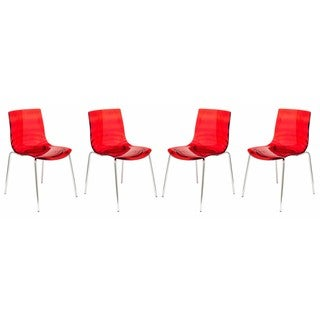 Link to LeisureMod Astor Red Plastic Chrome Base Dining Side Chair Set of 4 Similar Items in Dining Room & Bar Furniture