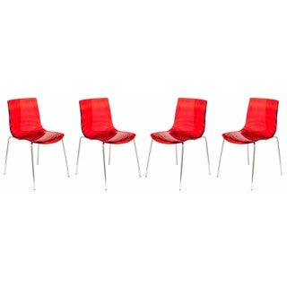 LeisureMod Modern Astor Polycarbonate Transparent Red Dining Chair (Set of 4)