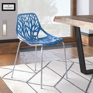 LeisureMod Asbury Cut Out Design Side Dining Chair in Blue - N/A