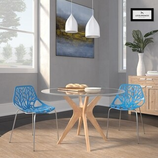 LeisureMod Asbury Blue Open Back Chrome Dining Side Chair Set of 2