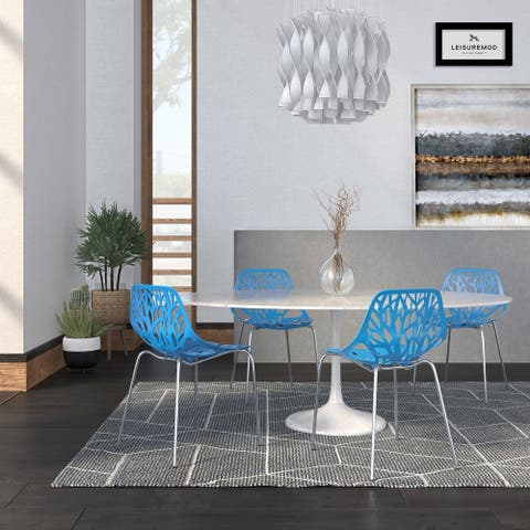 LeisureMod Asbury Blue Open Back Chrome Dining Side Chair Set of 4