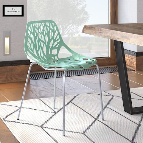 LeisureMod Asbury Mint Open Back Chrome Dining Side Chair