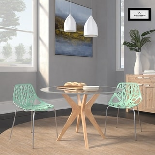 LeisureMod Modern Asbury Dining Chair with Chromed Legs (Set of 2)