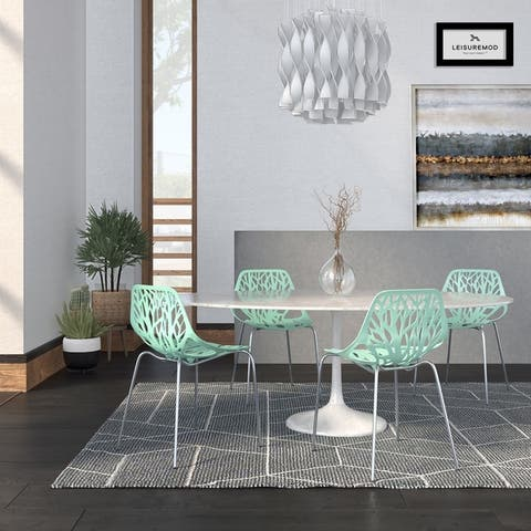 LeisureMod Asbury Mint Open Back Chrome Dining Side Chair Set of 4