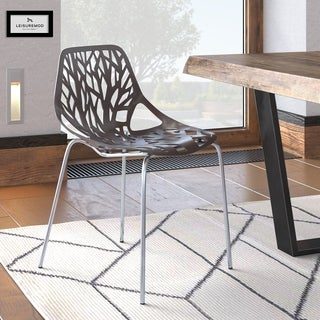LeisureMod Modern Asbury Dining Chair with Chromed Legs