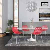 LeisureMod Asbury Red Open Back Chrome Dining Side Chair Set of 4