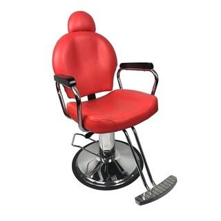 BarberPub Reclining Hydraulic Red Hair Salon Chair
