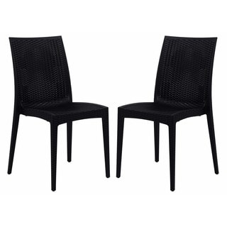 LeisureMod Weave Mace Indoor Outdoor Black Armless Dining Chair (Set of 2)