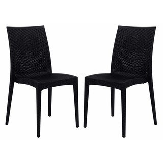 LeisureMod Mace Weave Design Indoor Outdoor Dining Chair in Black Set of 2