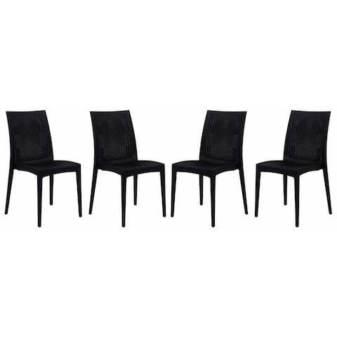 LeisureMod Weave Design Indoor Outdoor Dining Chair in Black Set of 4