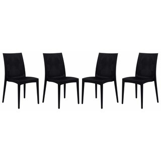 LeisureMod Mace Weave Design Indoor Outdoor Dining Chair in Black Set of 4