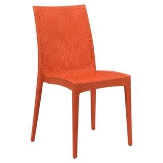 LeisureMod Weave Mace Indoor Outdoor Orange Armless Dining Chair