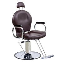 BarberPub Reclining Hydraulic Brown Hair Salon Chair
