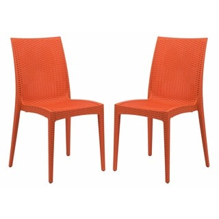 LeisureMod Weave Mace Indoor Outdoor Orange Armless Dining Chair (Set of 2)