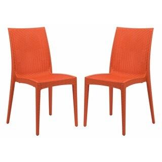 LeisureMod Weave Mace Indoor Outdoor Orange Armless Dining Chair (Set of 2)