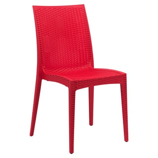 LeisureMod Weave Mace Indoor Outdoor Red Armless Dining Chair