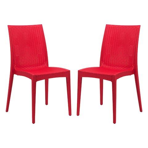 LeisureMod Weave Mace Indoor Outdoor Red Dining Chair Set of 2