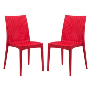 LeisureMod Weave Mace Indoor Outdoor Red Armless Dining Chair (Set of 2)