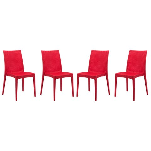 LeisureMod Weave Mace Indoor Outdoor Red Dining Chair Set of 4