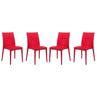 LeisureMod Weave Mace Indoor Outdoor Red Armless Dining Chair (Set of 4)