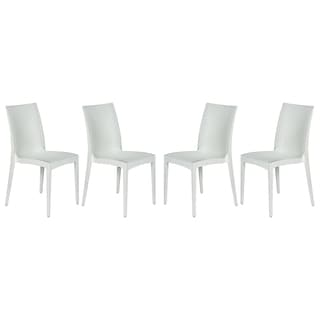 LeisureMod Weave Mace Indoor Outdoor White Armless Dining Chair (Set of 4)
