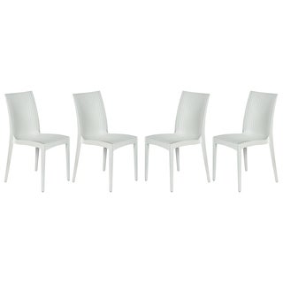 LeisureMod Weave Mace Indoor Outdoor White Dining Chair Set of 4