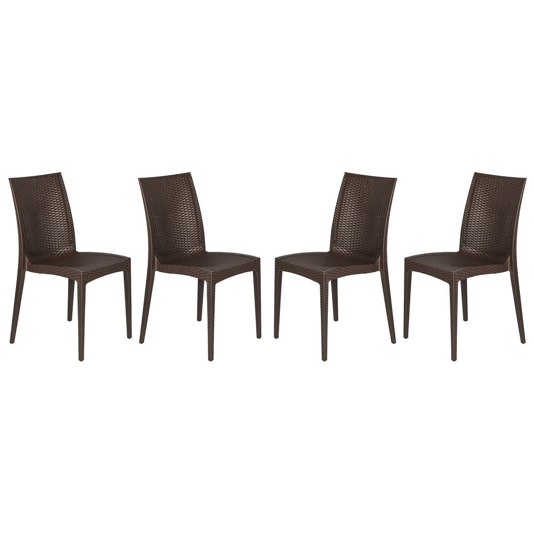 Amazing Leisuremod Weave Mace Indoor Outdoor Brown Armless Dining Chair Set Of 4 Creativecarmelina Interior Chair Design Creativecarmelinacom