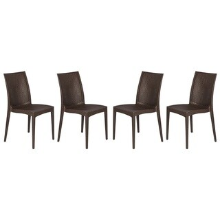 LeisureMod Weave Mace Indoor Outdoor Brown Armless Dining Chair (Set of 4)