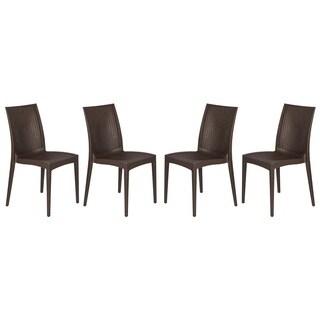 LeisureMod Mace Weave Design Indoor Outdoor Dining Chair in Brown Set of 4 - N/A