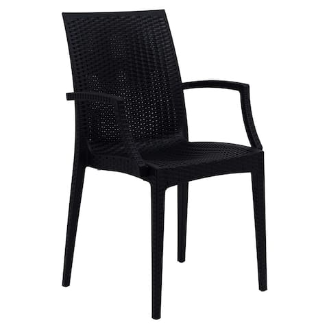LeisureMod Weave Mace Indoor Outdoor Black Dining Armchair