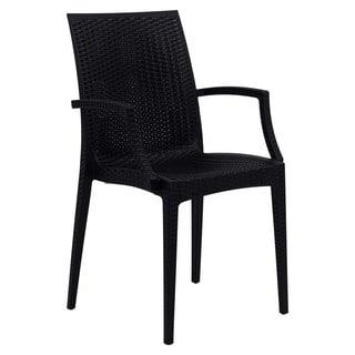 LeisureMod Weave Mace Indoor Outdoor Black Arm Chair