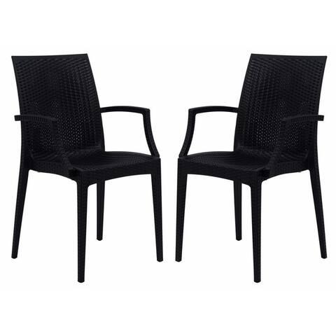 LeisureMod Weave Mace Indoor Outdoor Black Arm Chair Set of 2