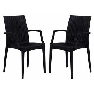 LeisureMod Weave Mace Indoor Outdoor Black Arm Chair (Set of 2)