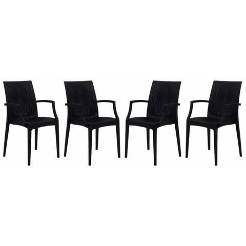 LeisureMod Weave Mace Indoor Outdoor Black Dining Armchair Set of 4