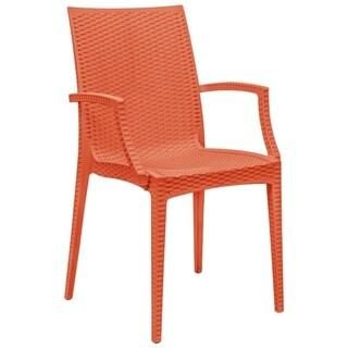 LeisureMod Weave Mace Indoor Outdoor Red Arm Chair